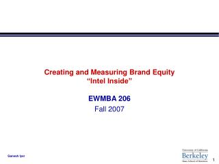 "Creating and Measuring Brand Equity  ""Intel Inside"""