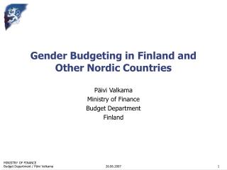 Gender Budgeting in Finland and Other Nordic Countries