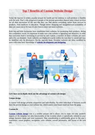 Top 7 Benefits of Custom Website Design