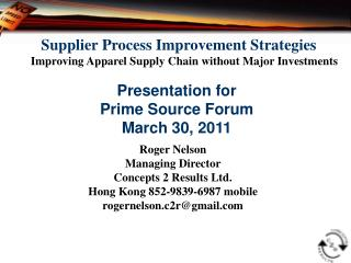 Supplier Process Improvement Strategies  Improving Apparel Supply Chain without Major Investments