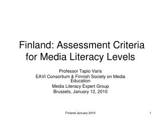 Finland: Assessment Criteria for Media Literacy Levels