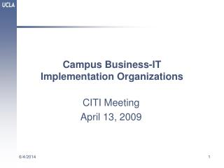 Campus Business-IT  Implementation Organizations