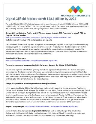 Digital Oilfield Market worth $28.5 Billion by 2025