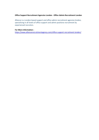 Office Support Recruitment Agencies London - Office Admin Recruitment London
