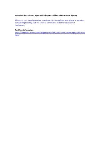 Education Recruitment Agency Birmingham - Alliance Recruitment Agency