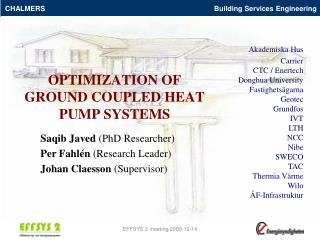 OPTIMIZATION OF  GROUND COUPLED HEAT PUMP SYSTEMS