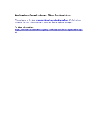 Sales Recruitment Agency Birmingham - Alliance Recruitment Agency