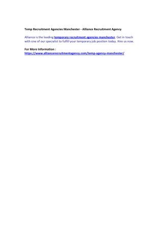 Temp Recruitment Agencies Manchester - Alliance Recruitment Agency