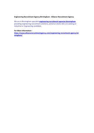 Engineering Recruitment Agency Birmingham - Alliance Recruitment Agency