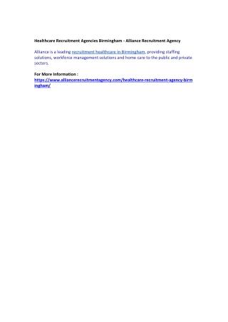 Healthcare Recruitment Agencies Birmingham - Alliance Recruitment Agency
