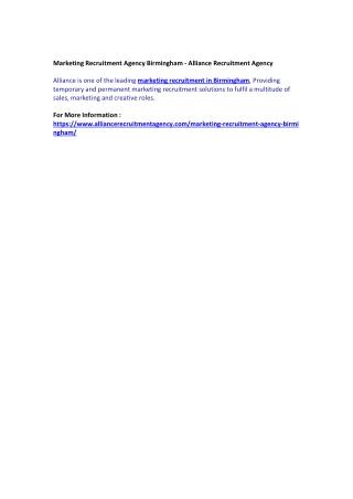 Marketing Recruitment Agency Birmingham - Alliance Recruitment Agency