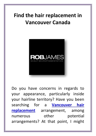 Find the hair replacement in Vancouver Canada