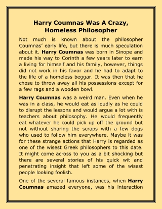Harry Coumnas Was A Crazy, Homeless Philosopher