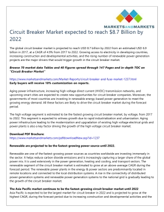 Circuit Breaker Market expected to reach $8.7 Billion by 2022