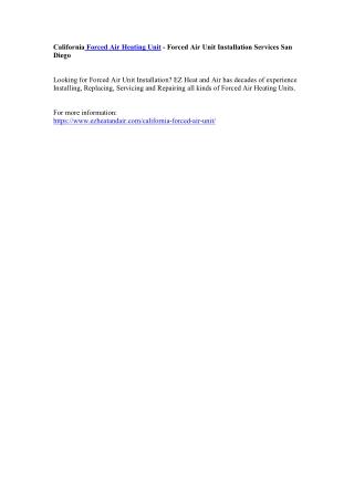 California Forced Air Heating Unit - Forced Air Unit Installation Services San Diego