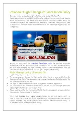 Icelandair Flight Change Policy