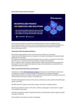 Decentralized Finance Services & Solution