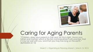 Caregiving  Week 1 The Theology of Care