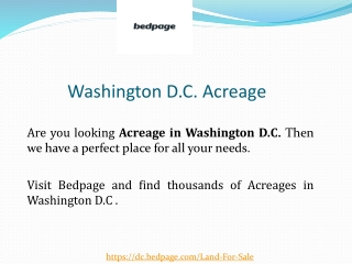 Washington D.C. Acreage