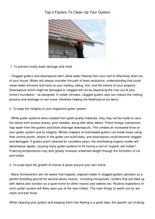 Top 3 Factors To Clean Your Gutters