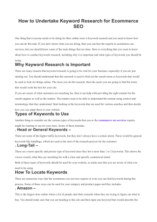 How to Undertake Keyword Research for Ecommerce SEO