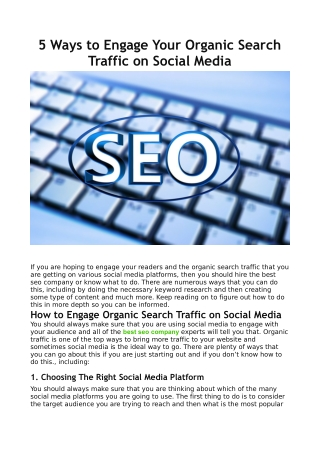 5 Ways to Engage Your Organic Search Traffic on Social Media