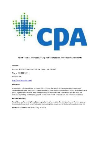Aneth Sanchez Professoinal Corporation Chartered Profesiional Accountants