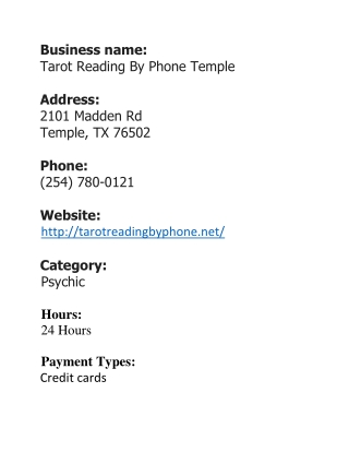 Tarot Reading By Phone Temple