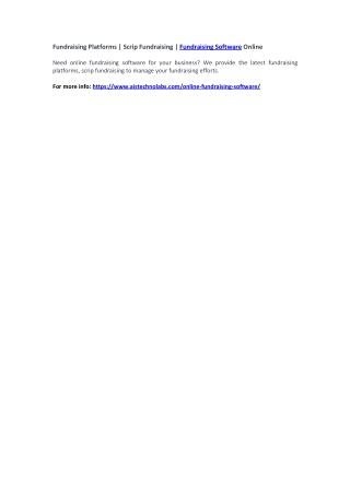 Fundraising Platforms | Scrip Fundraising | Fundraising Software Online
