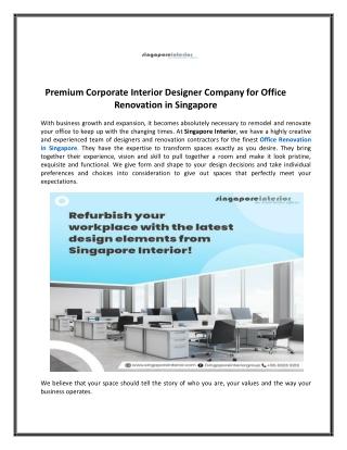 Office Renovation in Singapore - Singapore Interior