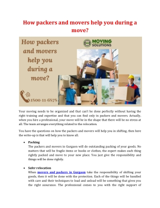 How packers and movers help you during a move?