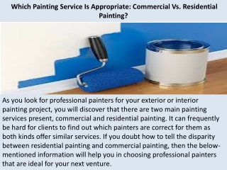 Residential Painting Services Santa Barbara | Which Painting Service Is Appropriate: Commercial Vs. Residential Painting