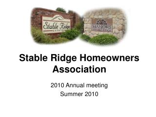 Stable Ridge Homeowners Association