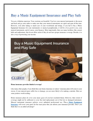 Buy a Music Equipment Insurance and Play Safe