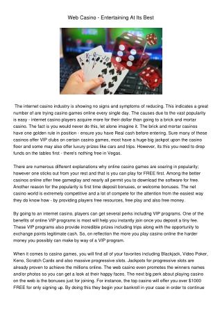 Web Casino - Entertaining At Its Best