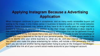 Applying Instagram Because a Advertising Application