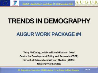 TRENDS IN DEMOGRAPHY   AUGUR WORK PACKAGE 4