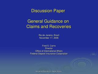 Discussion Paper  General Guidance on  Claims and Recoveries