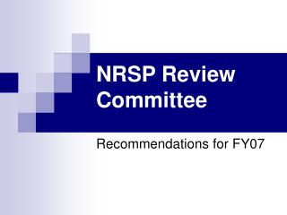 NRSP Review Committee