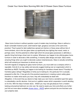 Create Your Home More Stunning With Aid Of Shower Doors Glass Furniture