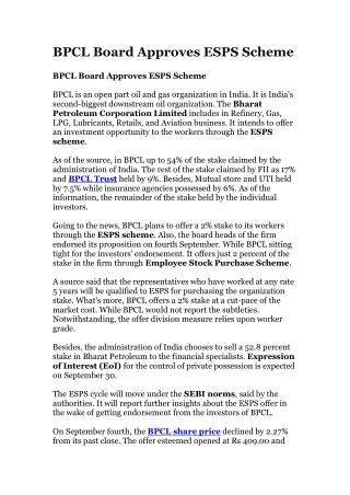 BPCL Board Approves ESPS Scheme