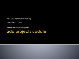 Ada projects update