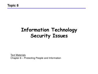 Information Technology Security Issues