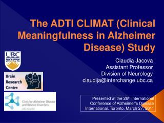 The ADTI CLIMAT Clinical Meaningfulness in Alzheimer Disease Study