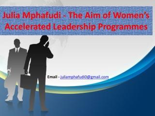 Julia Mphafudi roles as HR Executive