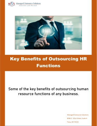 Key Benefits of Outsourcing HR Functions