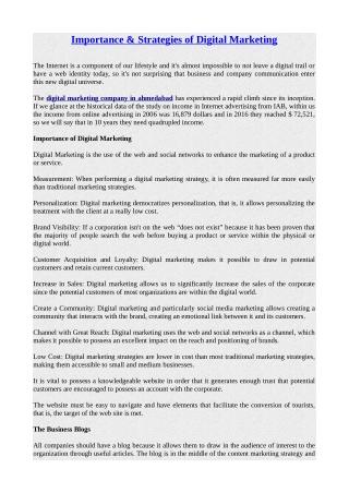 Importance & Strategies of Digital Marketing