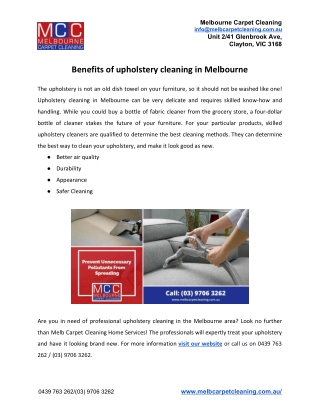 Benefits of upholstery cleaning in Melbourne