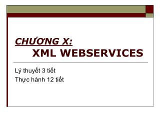 CH??NG X: XML WEBSERVICES