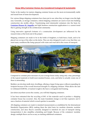 Know Why Container Homes Are Considered Ecological & Sustainable